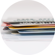 Stack of debit and credit cards