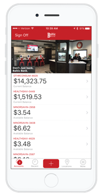 screenshot of BSB mobile banking